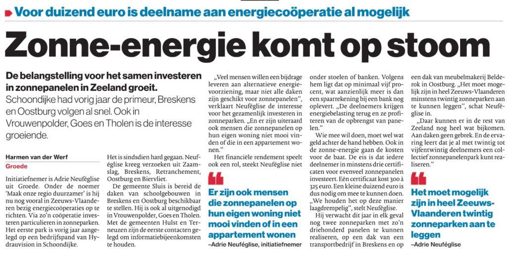 Artikel zonne-energie komt op stoom BN DeStem